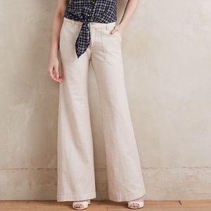 Anthro Wide Leg Linen Pants